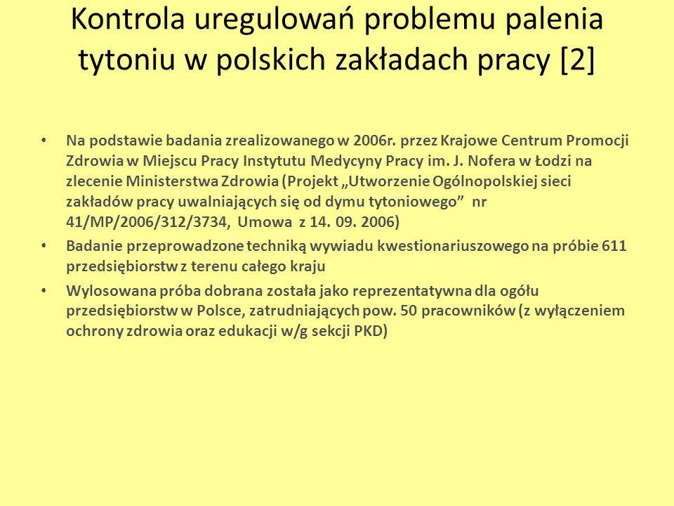 Kontrola uregulowań problemu palenia tytoniu w polskich zakładach pracy [2]